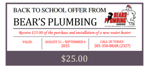 Back to School water heater coupon